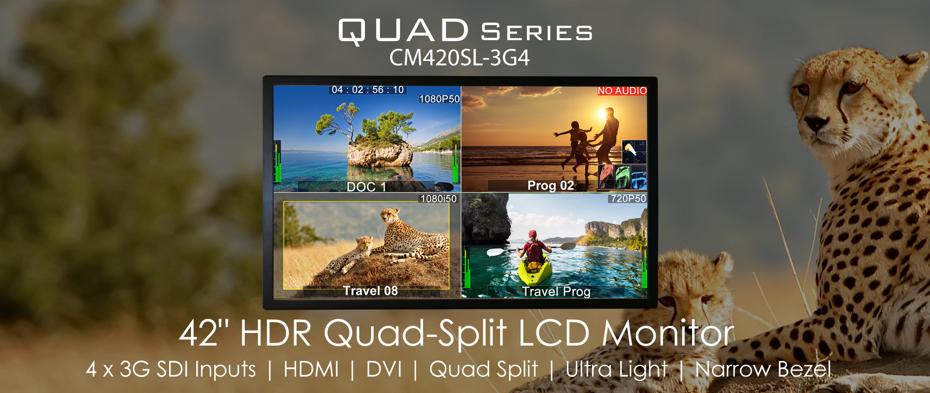 Professional Quad-Split LCD Monitors Full HD 42